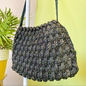 GREEN STRAW SLING BAG